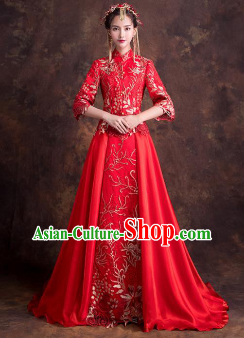 Chinese Traditional Wedding Dress Ancient Bride Embroidered Costumes Red Xiuhe Suits for Women