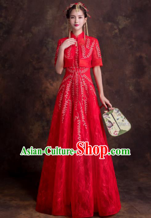 Chinese Traditional Bride Embroidered Xiuhe Suits Ancient Red Wedding Dress for Women