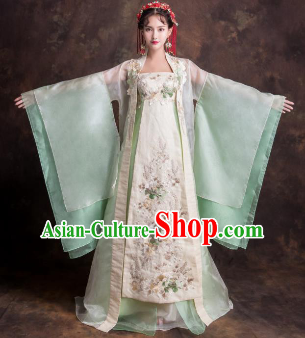 Chinese Traditional Embroidered Green Xiuhe Suits Ancient Imperial Consort Wedding Dress for Women