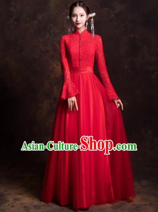 Chinese Traditional Red Lace Xiuhe Suits Ancient Embroidered Wedding Dress for Women
