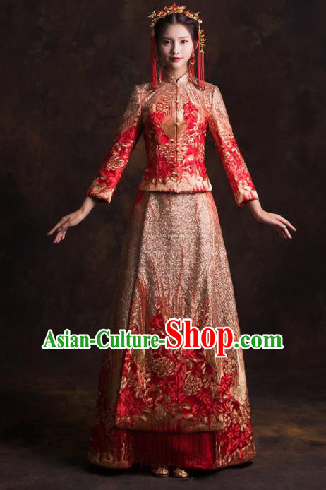 Chinese Traditional Golden Phoenix Xiuhe Suits Ancient Bride Embroidered Wedding Dress for Women
