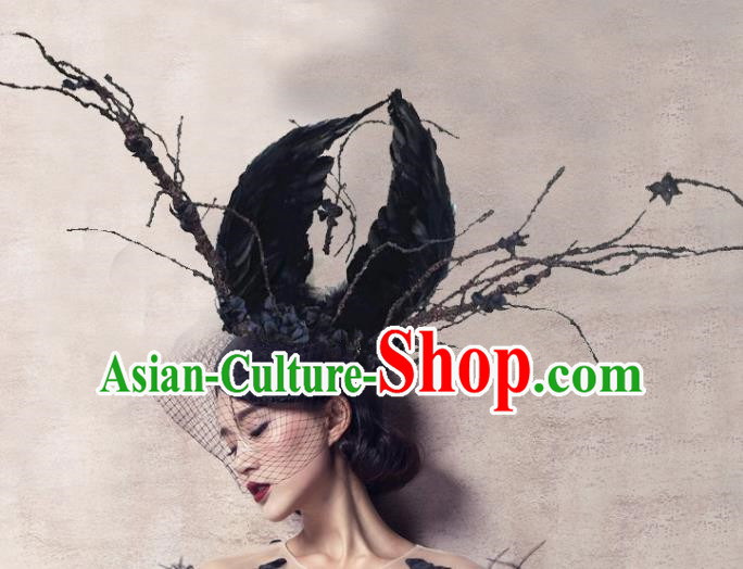Top Grade Halloween Hair Accessories Gothic Catwalks Black Feather Top Hat for Women