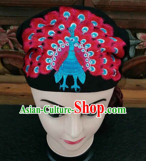 Chinese Traditional National Hat Ethnic Yi Nationality Embroidered Red Peacock Kerchief for Women
