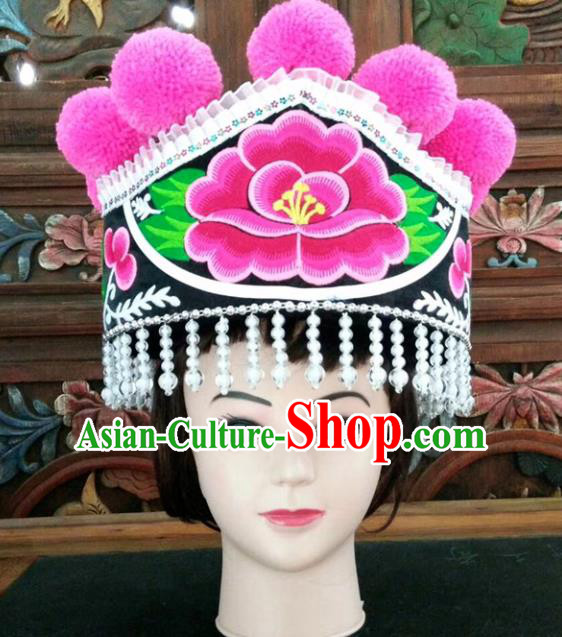 Chinese Traditional National Hat Ethnic Yi Nationality Embroidered Peony Black Hat for Women