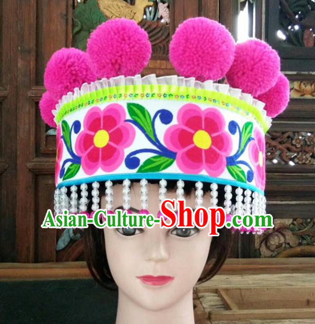 Chinese Traditional National Hat Ethnic Yi Nationality Embroidered Flowers White Hat for Women