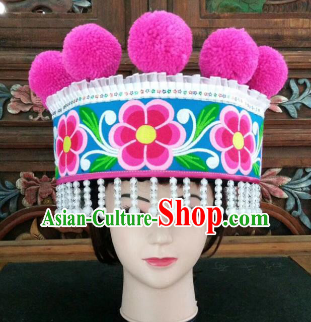 Chinese Traditional National Hat Ethnic Yi Nationality Embroidered Flowers Blue Hat for Women