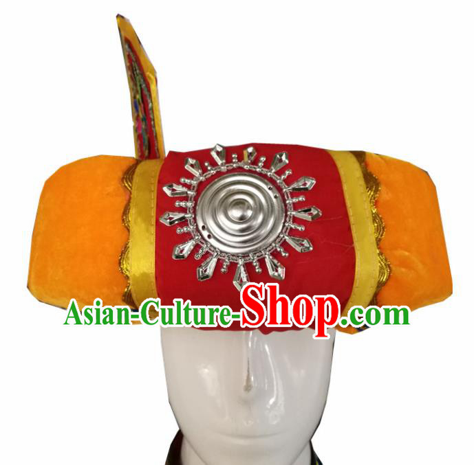 Chinese Traditional National Hat Ethnic Yi Nationality Orange Hat for Men