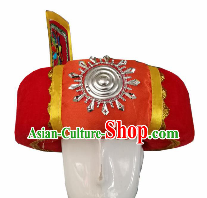 Chinese Traditional National Hat Ethnic Yi Nationality Red Hat for Men