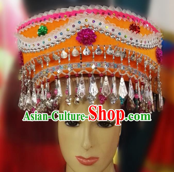 Chinese Traditional National Hat Ethnic Miao Nationality Orange Hat for Women