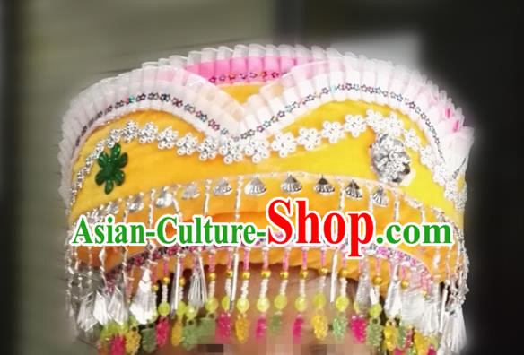 Chinese Traditional National Hat Ethnic Miao Nationality Yellow Hat for Women