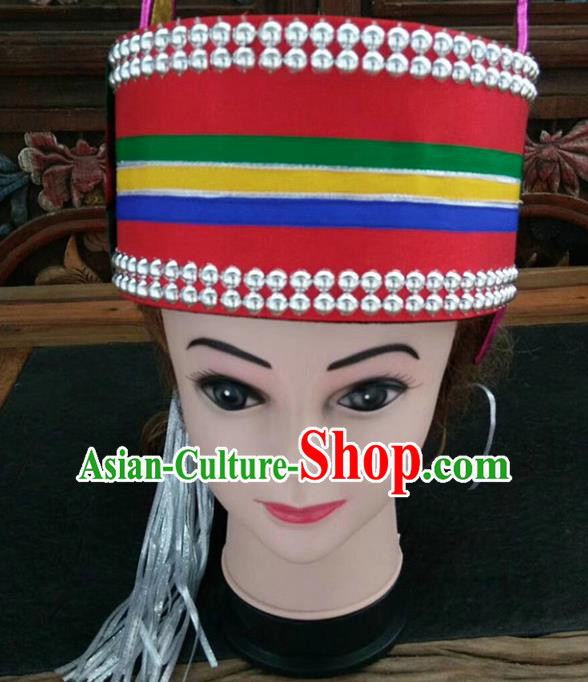 Chinese Traditional National Hat Ethnic Yi Nationality Bride Hat for Women