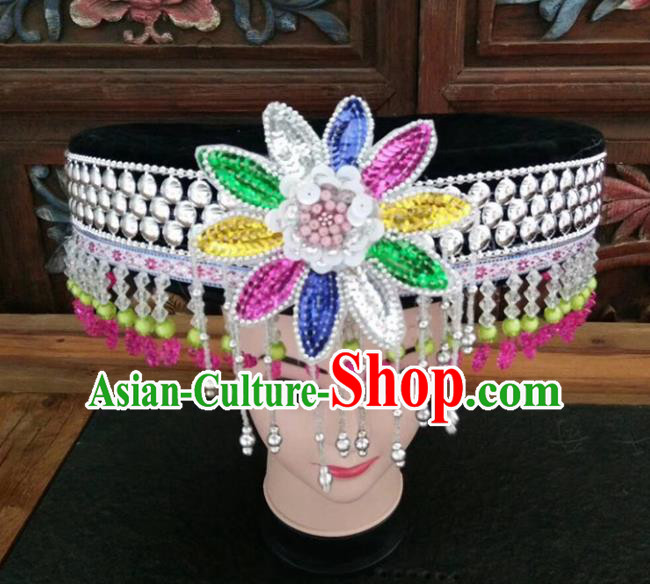 Chinese Traditional National Hat Ethnic Yi Nationality Tassel Hat for Women