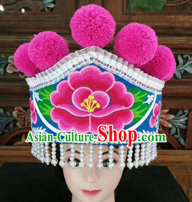 Chinese Traditional National Hat Ethnic Yi Nationality Embroidered Peony Blue Hat for Women
