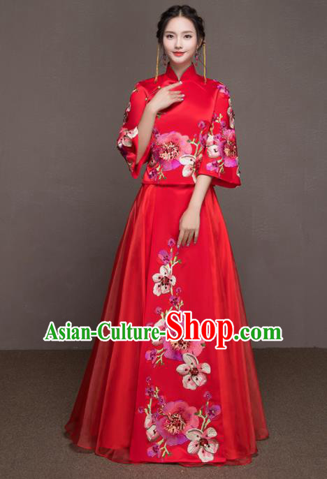 Chinese Traditional Embroidered Peach Blossom Wedding Costumes Ancient Bride Red Dress for Women