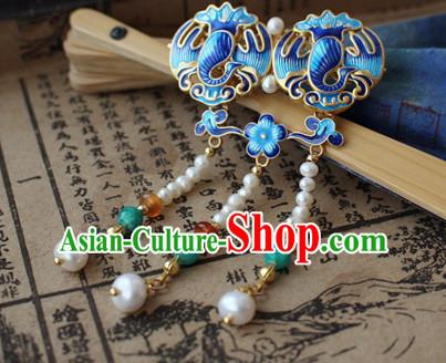 Asian Chinese Traditional Hair Accessories Ancient Hanfu Blueing Hairpins Hair Clip for Women