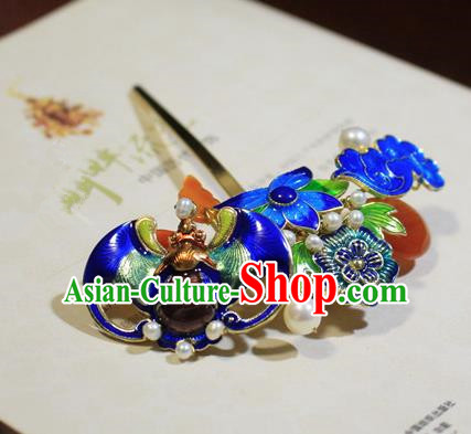 Asian Chinese Traditional Hair Accessories Ancient Hanfu Blueing Lotus Hairpins Hair Clip for Women