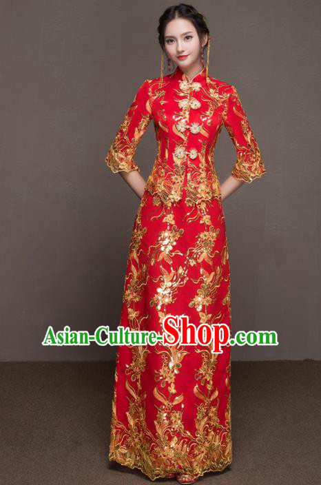 Chinese Traditional Wedding Costumes Ancient Bride Embroidered Red Dress for Women