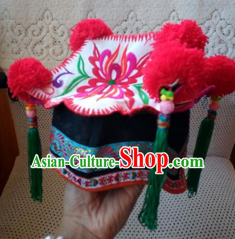 Chinese Traditional National Accessories Ethnic Embroidered Delonix Regia Hat for Kids