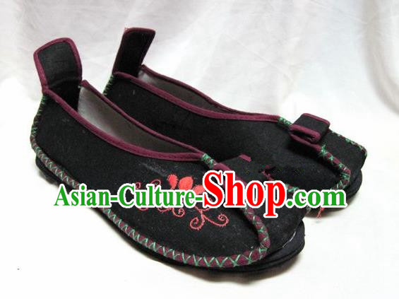 Asian Chinese Shoes Wedding Shoes Traditional Black Hanfu Shoes Embroidered Shoes for Women