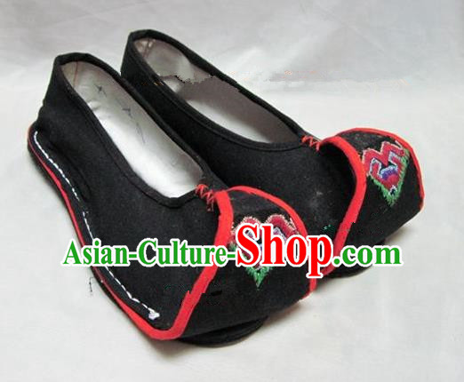 Asian Chinese Traditional Hanfu Shoes Black Canvas Shoes Embroidered Shoes for Women