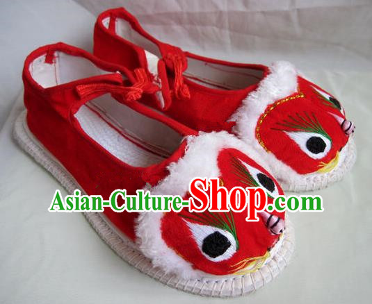Asian Chinese Traditional Hanfu Shoes Ethnic Red Cloth Tiger Head Shoes for Women