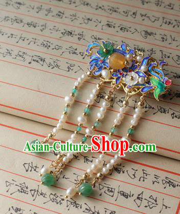 Asian Chinese Traditional Hair Accessories Ancient Hanfu Blueing Hair Stick Hairpins for Women