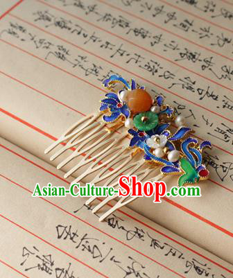 Asian Chinese Traditional Hair Accessories Ancient Hanfu Blueing Hair Comb Hairpins for Women