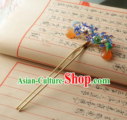 Asian Chinese Traditional Hanfu Hair Accessories Ancient Palace Blueing Hairpins for Women