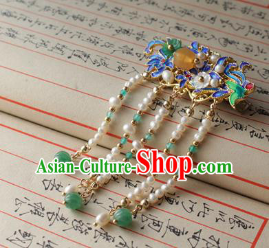 Asian Chinese Traditional Hanfu Hair Accessories Pearls Tassel Hair Sticks Ancient Palace Blueing Hairpins for Women