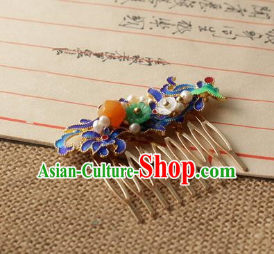 Asian Chinese Traditional Hanfu Hair Comb Ancient Palace Blueing Hairpins for Women