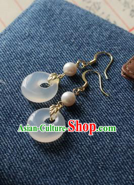 Asian Chinese Traditional Jewelry Accessories Ancient Hanfu White Chalcedony Earrings for Women