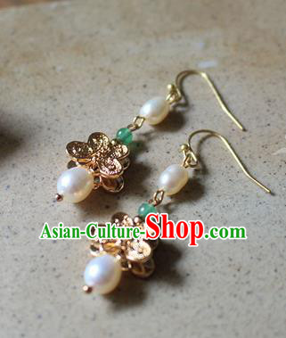 Asian Chinese Traditional Jewelry Accessories Ancient Hanfu Pearls Earrings for Women