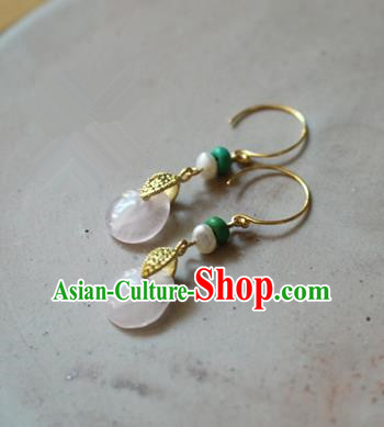 Asian Chinese Traditional Jewelry Accessories Ancient Hanfu Rose Quartz Earrings for Women
