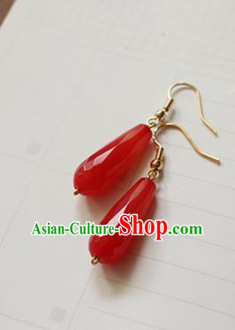 Asian Chinese Traditional Jewelry Accessories Ancient Hanfu Red Chalcedony Earrings for Women