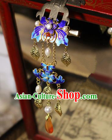 Asian Chinese Traditional Hanfu Cloisonne Lotus Hair Claw Ancient Palace Hairpins for Women