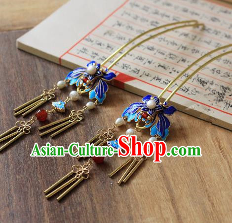 Asian Chinese Traditional Hanfu Cloisonne Tassel Hair Clip Ancient Palace Hairpins for Women