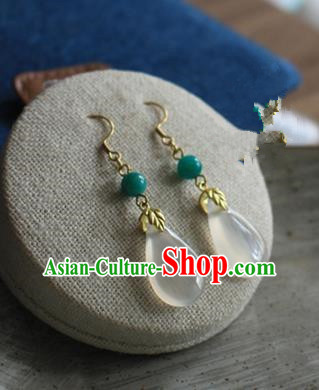 Asian Chinese Traditional Jewelry Accessories Ancient Hanfu Chalcedony Earrings for Women