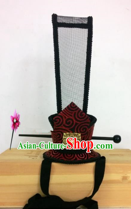 Chinese Traditional Hanfu Headdress Ancient Han Dynasty Prince Black Tuinga Hairdo Crown for Men