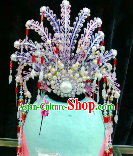 Chinese Classical Beijing Opera Hair Accessories Traditional Ancient Princess Purple Phoenix Coronet for Women