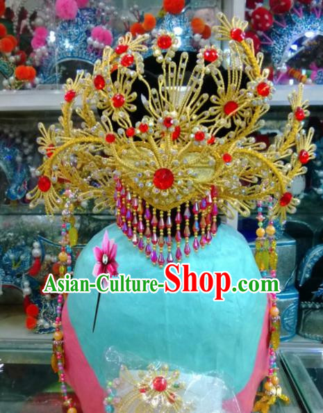 Chinese Classical Beijing Opera Hair Accessories Traditional Ancient Golden Phoenix Coronet for Women