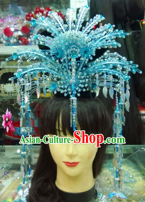 Chinese Classical Hair Accessories Traditional Ancient Beijing Opera Blue Phoenix Coronet for Women