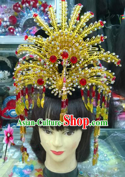 Chinese Classical Hair Accessories Traditional Ancient Beijing Opera Golden Phoenix Coronet for Women
