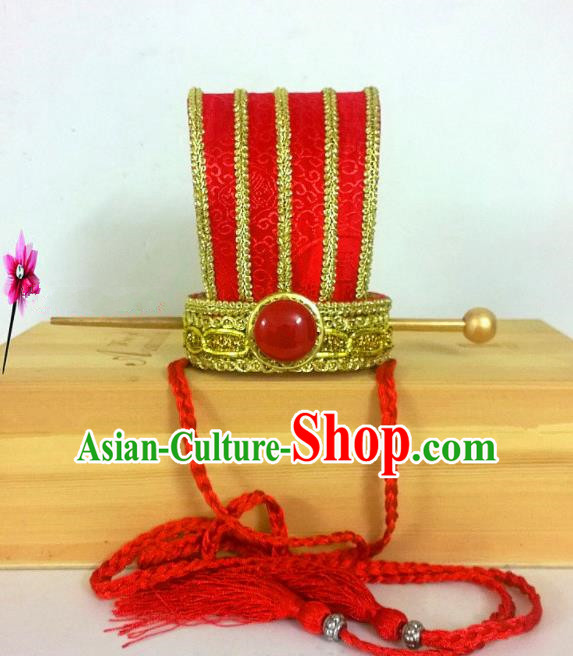 Chinese Traditional Hanfu Headdress Ancient Bridegroom Red Hairdo Crown for Men
