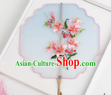 Traditional Chinese Crafts Palace Fans Silk Round Fans Ancient Princess Embroidered Flowers Fan for Women