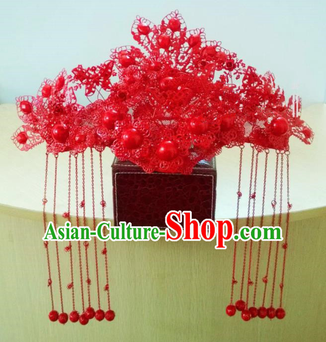 Chinese Classical Wedding Hair Accessories Traditional Ancient Bride Red Phoenix Coronet for Women