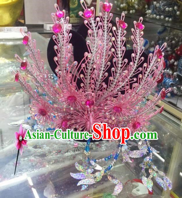 Chinese Classical Princess Hair Accessories Traditional Ancient Beijing Opera Pink Phoenix Coronet for Women