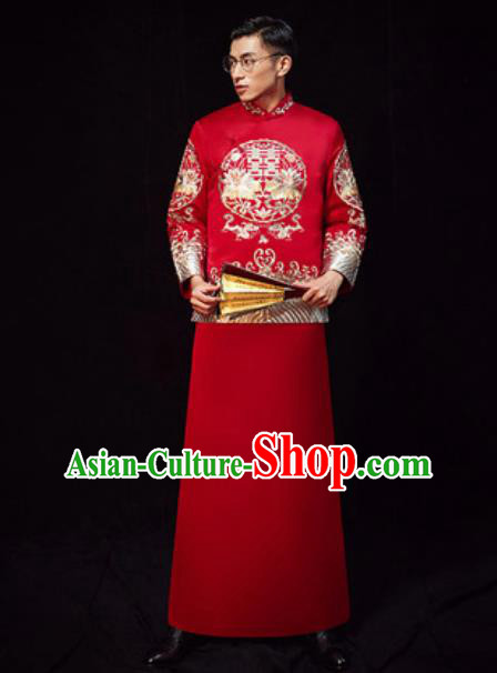 Chinese Traditional Wedding Costumes Ancient Bridegroom Long Gown for Men