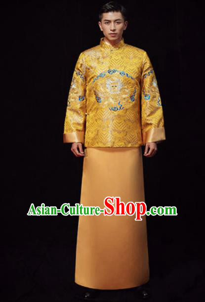 Chinese Traditional Wedding Costumes Ancient Bridegroom Yellow Long Gown for Men