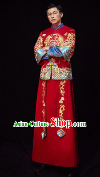 Chinese Traditional Wedding Red Embroidered Costumes Ancient Bridegroom Toast Clothing for Men