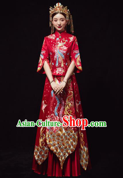 Chinese Traditional Red Xiuhe Suits Ancient Bride Embroidered Phoenix Wedding Dress for Women